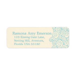 Sea swirl cream slim wedding return reply label return address label