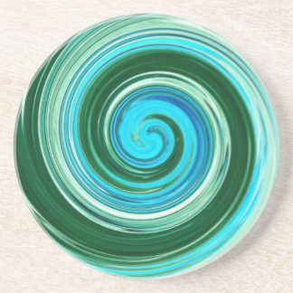 Sea Swirl Custom Drink Coasters, Sandstone on Cork Drink Coaster