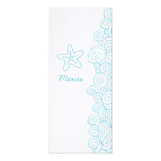 Sea swirls starfish blue white wedding dinner menu 4x9.25 paper invitation card