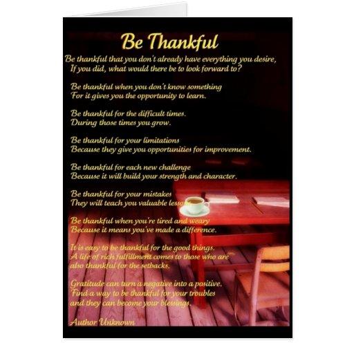 Sea tarjeta de felicitación agradecida del poema