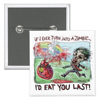 Sea tarjeta del día de San Valentín del zombi de l Pin Cuadrada 5 Cm