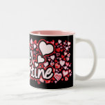 """""""Sea taza negra rosada roja de los corazones del t"""