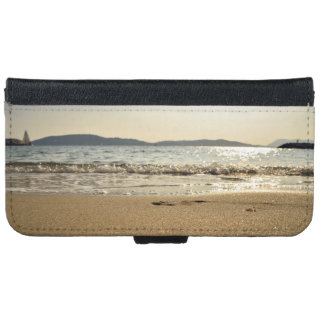 Sea Themed, Gentle Waves Gurgle In Onto Wet Sand W Wallet Phone Case For iPhone 6/6s
