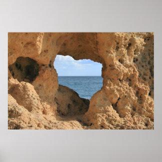 Sea Through Rocks Poster