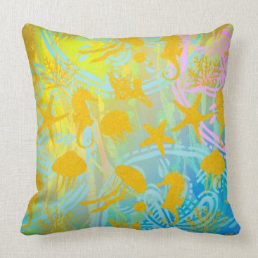 """Beach Themed Sea Throw Pillow 20"""" x 20"""