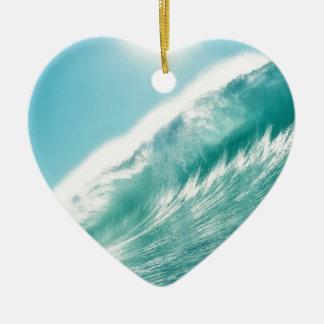 sea tide adorno navideño de cerámica en forma de corazón