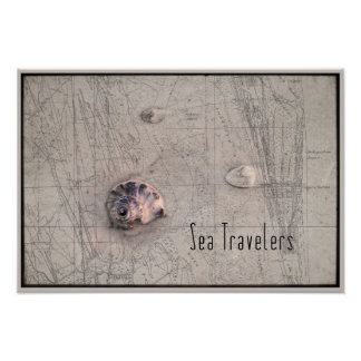 Sea Traveler Beach Map Collage Posters