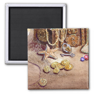 SEA TREASURES by SHARON SHARPE 2 Inch Square Magnet