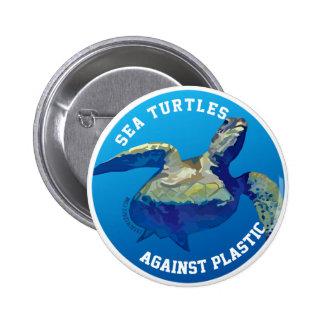 Sea Turles Against Plastic Eco Butto Pinback Button