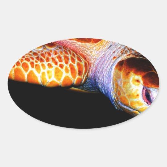 Sea Turtle 1 Oval Sticker