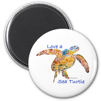 Sea Turtle 2 Inch Round Magnet