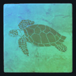 """Sea Turtle 2 on Blue and Green Background Stone Coaster<br><div class=""""desc"""">Satisfy your inner beach need with these sea turtle coasters!</div>"""
