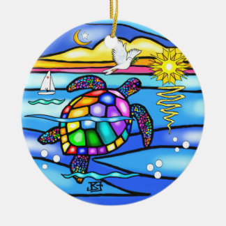 Sea Turtle (#8 - with dove) Double-Sided Ceramic Round Christmas Ornament
