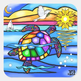 Sea Turtle (#8 - with dove) Square Sticker