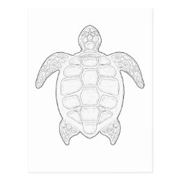 Sea Turtle Adult Coloring Postcard