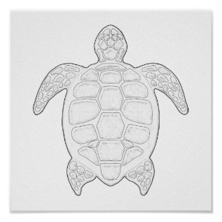 Sea Turtle Adult Coloring Poster