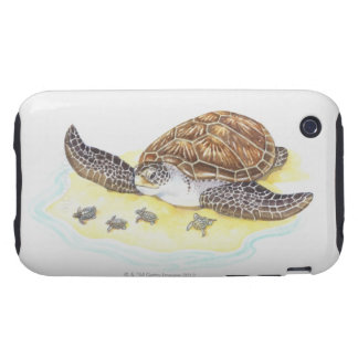 Sea Turtle and Babies iPhone 3 Tough Case
