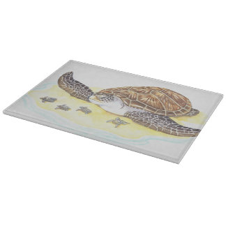 Sea Turtle and Babies Cutting Board