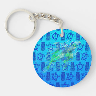 Sea Turtle And Blue Tiki Double-Sided Round Acrylic Keychain