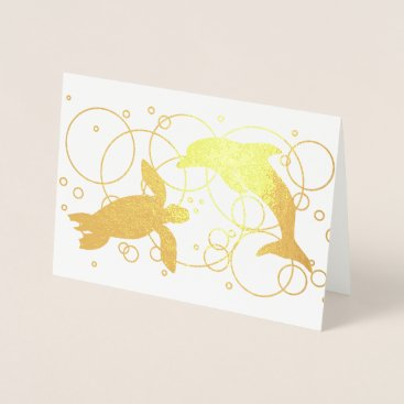 Beach Themed Sea Turtle and Dolphin Foil Card