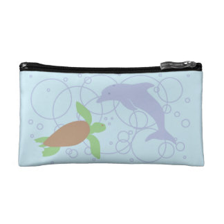 Sea Turtle and Dolphin Makeup Bag