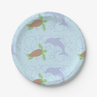 Sea Turtle and Dolphin Paper Plate