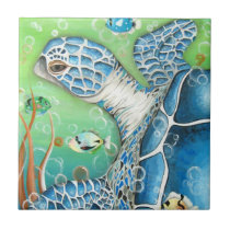 Sea Turtle and Fish Ceramic Tile
