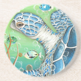 Sea Turtle and Fish  Sandstone Coasters