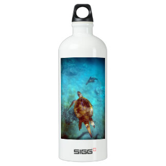 Sea turtle and sea lion underwater Galapagos Water Bottle