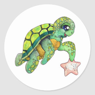 Sea Turtle and Starfish Classic Round Sticker