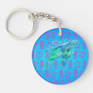 Sea Turtle And Tiki Double-Sided Round Acrylic Keychain