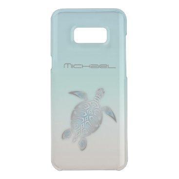 Beach Themed Sea Turtle Animal Silver Clear Monogram Get Uncommon Samsung Galaxy S8 Plus Case