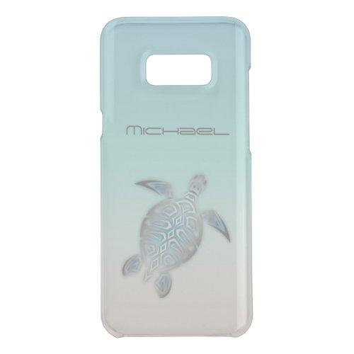 Sea Turtle Animal Silver Clear Monogram Phone Case