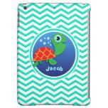Sea Turtle; Aqua Green Chevron Cover For iPad Air