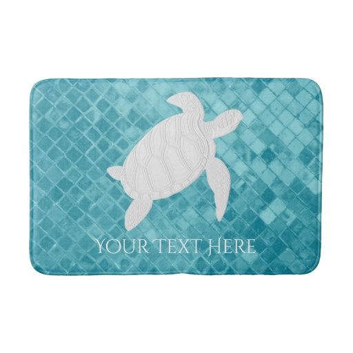 Turquoise Bath Rugs For Dry The Feet Simple Turquoise: Sea Turtle Aqua Sea Glass Personalize Bath Mat
