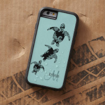 Sea Turtle Aqua Stripe with Monogram Tough Xtreme iPhone 6 Case