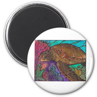 Sea Turtle Art...awesome stained glass style! 2 Inch Round Magnet