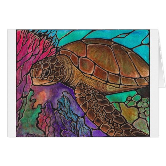 Sea Turtle Art...awesome stained glass style! Card