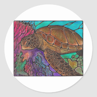 Sea Turtle Art...awesome stained glass style! Classic Round Sticker