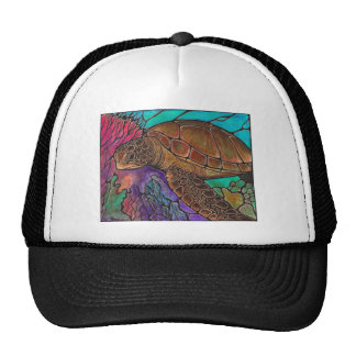 Sea Turtle Art...awesome stained glass style! Trucker Hat
