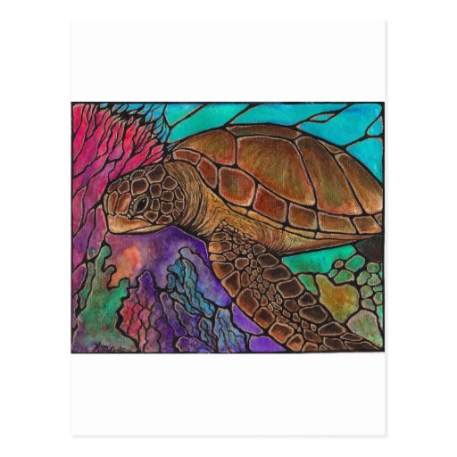Sea Turtle Art...awesome stained glass style! Postcards