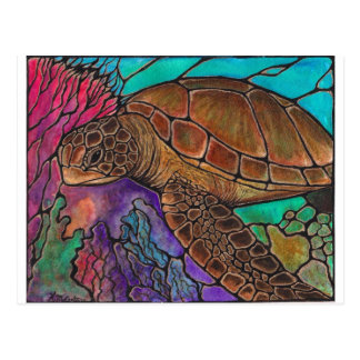 Sea Turtle Art...awesome stained glass style! Postcard