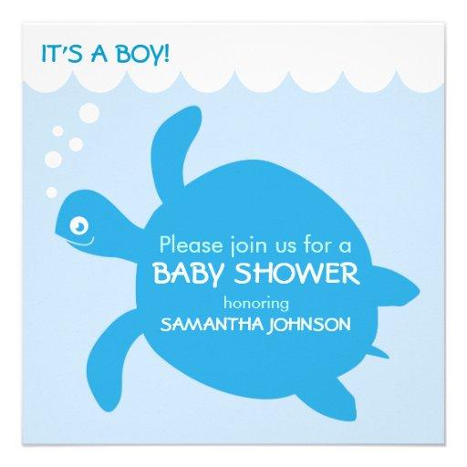 Turtle Boy Baby Shower Invitations