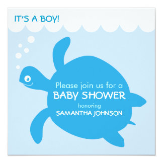Sea Turtle Baby Boy Simple Shower Invitation