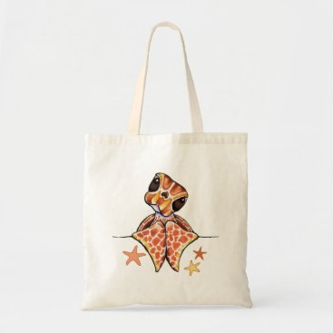Beach Themed Sea Turtle Baby Brown Starfish Tote Bag