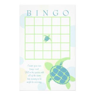 Sea Turtle Baby Shower Bingo Stationery