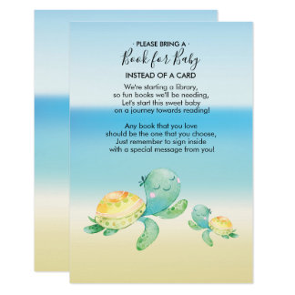 Sea Turtle Baby Shower Book for Baby Card