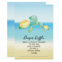 Sea Turtle Baby Shower Diaper Raffle Ticket Invitation