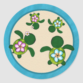 Sea TURTLE Baby Shower (Honu) TWINS 01D2 Seal Classic Round Sticker