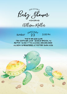 Sea Turtle Baby Shower Invitation